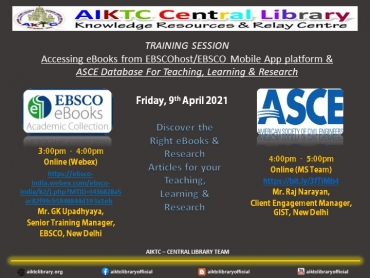 EVENT : EBSCO eBooks & ASCE - Online training Session 9th April, 2021.